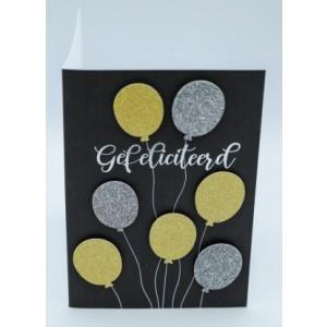 """Wenskaart Laura's Secret 3D felicitatie met de tekst """"gefeliciteerd"""" met de afbeeldingen van zilveren en gouden ballonnen"""