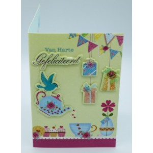 """Wenskaart Laura's Secret 3D felicitatie met de tekst """"vandaag is het jouw verjaardag, hoera!"""" met de afbeelding cadeautjes en een vogeltje die een theepotje gevuld met hartjes vasthoudt"""