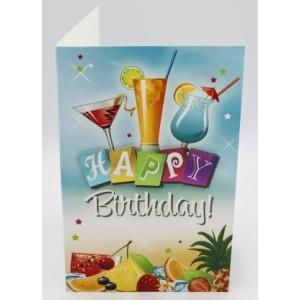 """Adios wenskaart felicitatie met de tekst """"happy birthday!"""" met cocktails en fruit"""