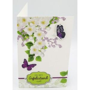 Adios wenskaart felicitatie met applicaties en afbeeldingen van vlinders rondom een bloemenstruik