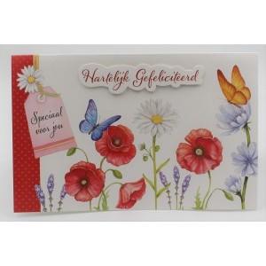 Adios wenskaart felicitatie met applicatie en de afbeeldingen van vlinders, klaprozen en andere bloemen