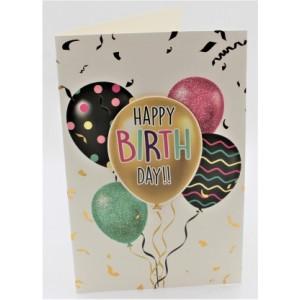 """Adios wenskaart felicitatie met applicatie en de tekst """"happy birthday!!"""" met kleurige ballonnen"""