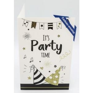 Adios wenskaart felicitatie met applicatie cadeau envelop met feesthoedjes