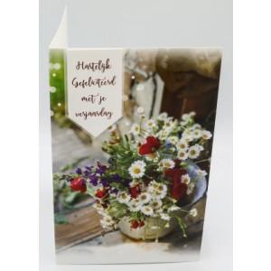 Adios wenskaart felicitatie met applicatie met een boeket fleurige bloemen