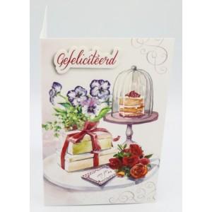 Adios wenskaart felicitatie met een aquarel van bloemen, cadeautjes en gebak