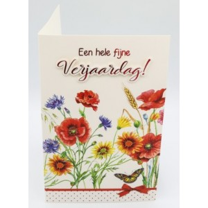 Adios wenskaart felicitatie met een veldboeket bloemen in aquarel