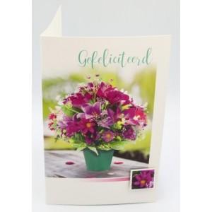 Adios wenskaart felicitatie met een mooie boeket met paarse bloemen in een groen potje