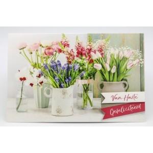 Adios wenskaart felicitatie met vijf potjes met verschillende soorten bloemen