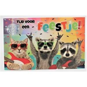 """Adios wenskaart felicitatie met de tekst """"tijd voor een fesstje"""" met twee wasberen en een poes die muziek maken"""