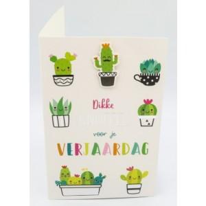 """Adios wenskaart felicitatie met de tekst """"dikke knuffel voor je verjaardag"""" en afbeeldingen van grappige cactussen"""