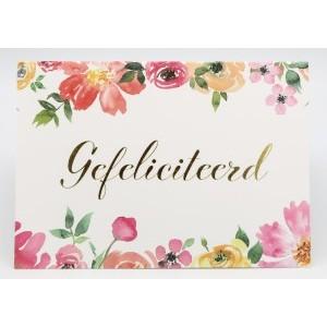 Adios wenskaart felicitatie met de tekst gefeliciteerd in gouden letters met aan de boven- en onderkant bloemen in aquarel