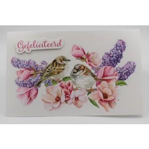 Adios wenskaart felicitatie met musjes op bloementakken