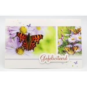 Adios wenskaart felicitatie met de tekst hartelijk gefeliciteerd met vlinders op paarse bloemen
