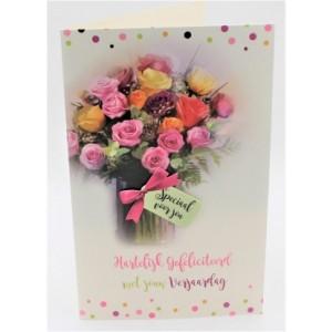 Adios wenskaart felicitatie bloemenafbeelding