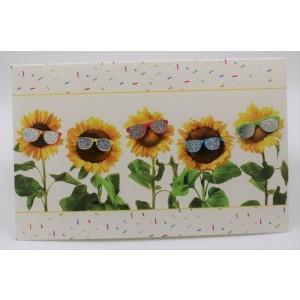 Adios wenskaart zonder tekst met zonnebloemen die een zonnebril op hebben.