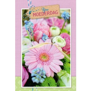 Wenskaart Moederdag met de tekst Fijne Moederdag en een mooi boeket bloemen