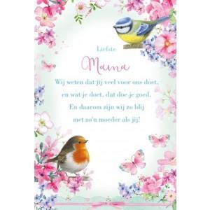 Wenskaart Moederdag met een mooie gedicht en getekende vogels