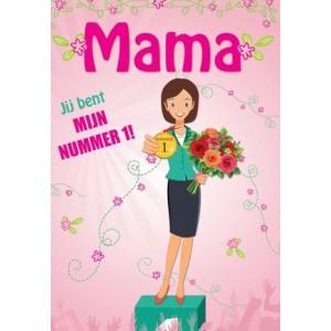 Wenskaart Moederdag met de tekst Mamma jij bent mijn nummer 1