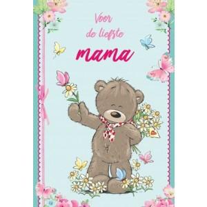 Wenskaart Moederdag met de tekst Voor de liefste mama met de afbeelding van een beertje met een bos bloemen