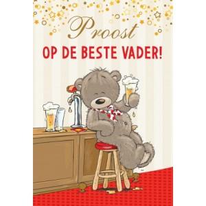 """Wenskaart Vaderdag met de afbeelding een beertje met een biertje en de tekst """"Proost op de beste vader!"""""""