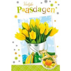 Wenskaart Vrolijk Pasen met gele tulpen