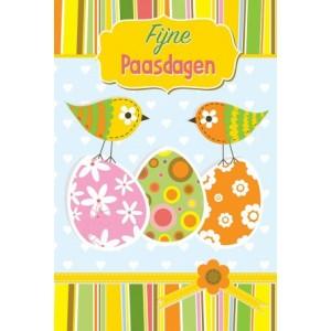 Wenskaart Vrolijk Pasen met vrolijk getekende eieren en vogeltjes