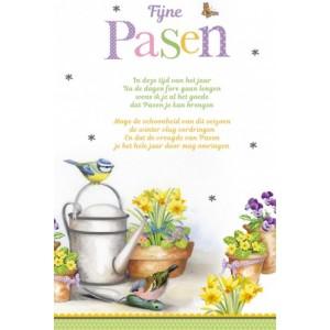 Wenskaart Vrolijk Pasen met tuintafereel en een vrolijk gedicht