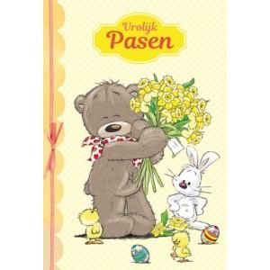 Wenskaart Vrolijk Pasen met een getekend beertje, een konijn en kuiketjes