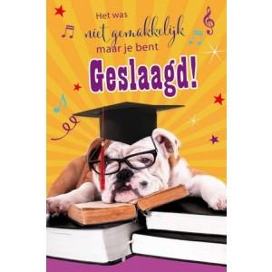 Wenskaart geslaagd luxe met een hond die uitrust op een stapel boeken