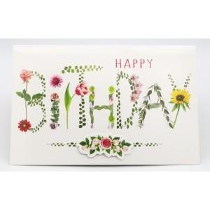 Adios wenskaart felicitatie met de tekst happy birthday in bloemen geschreven