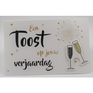 Adios wenskaart felicitatie met applicatie een toost op jouw verjaardag in goud en zilver met proostende champagneglazen