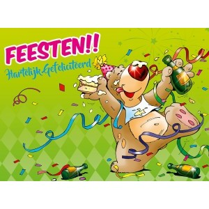 Wenskaart luxe felicitatie gekleurde binnendruk