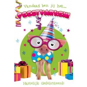 Verjaardagskaart luxe met gekleurde binnendruk en gekleurde envelop