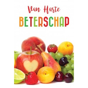 Wenskaart luxe van harte beterschap met veel fruit en met gekleurde binnendruk en gekleurde envelop