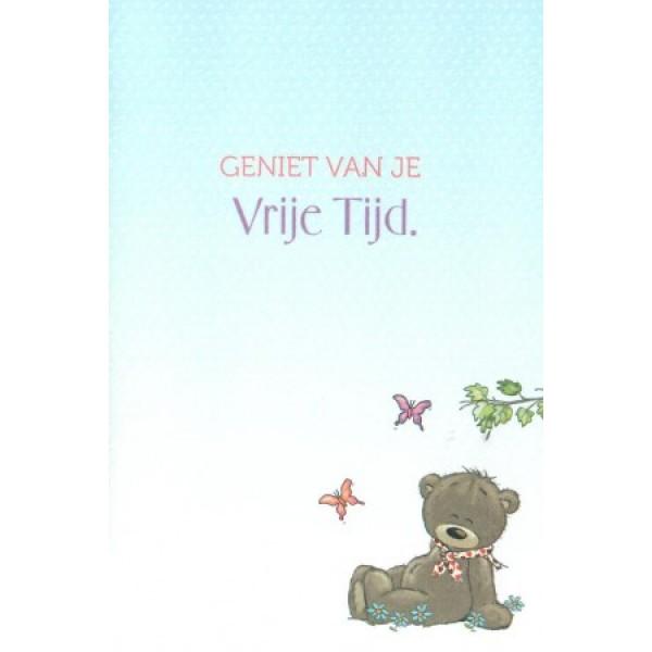 Wenskaart luxe Cute Bear met gekleurde binnenzijde
