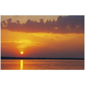 Wenskaart foto mini met een zonsondergang boven het water