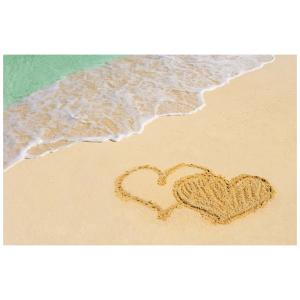Wenskaart foto mini harten in het zand op het strand