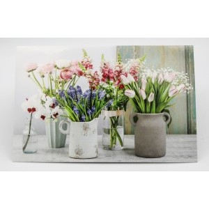 Adios wenskaart zonder tekst met verschillende soorten bloemen in vaasjes en potjes