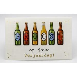 """Adios wenskaart felicitatie met de tekst """"Proost op jouw verjaardag"""" met 6 flesjes bier"""