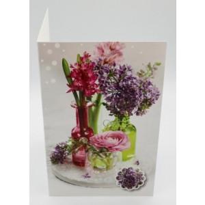 Adios wenskaart zonder tekst met bloemen paars en roze in kleine vaasjes