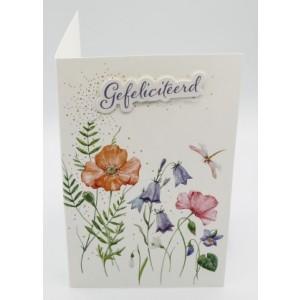 Adios wenskaart felicitatie met de tekst gefeliciteerd met een aquarel van bloemen