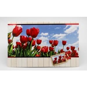 Adios wenskaart zonder tekst met rode tulpen