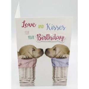 """Adios wenskaart felicitatie met de tekst """"love and kisses for your birthday"""" met twee hondjes in een mandje"""