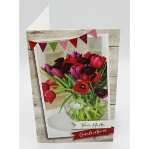 Adios wenskaart felicitatie bloemenafbeelding rode en paarse tulpen