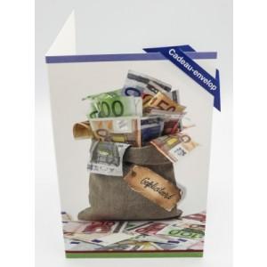 Adios cadeau envelop felicitatie met de tekst gefeliciteerd en een juten zak vol met bankbiljetten