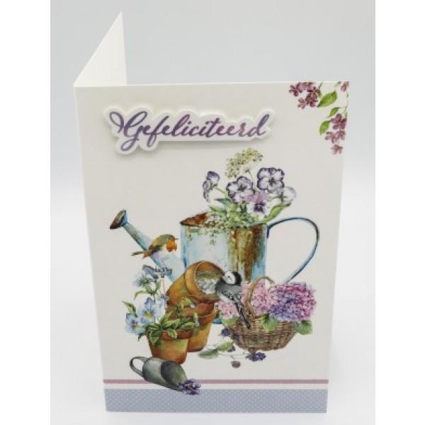Adios wenskaart felicitatie bloemen, gieter en vogeltjes