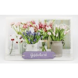 Adios wenskaart felicitatie allerlei soorten bloemen in allerlei potjes en vaasjes
