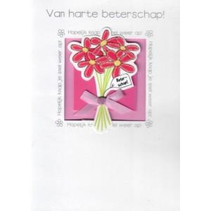 Luxe wenskaart met 3D-applicatie van harte beterschap hopelijk knap je snel weer op met een bosje bloemen