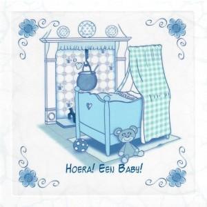 Luxe wenskaart met een afbeelding van een wieg in delfts-blauw.