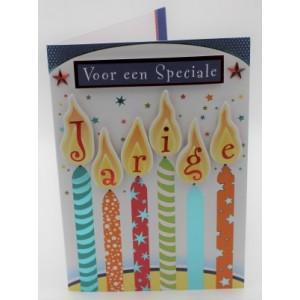 """Wenskaart Laura's Secret 3D felicitatie met de tekst """"voor een speciale jarige"""" met kaarsjes"""